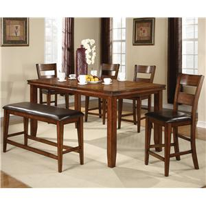 6 Piece Counter Height Table and Chairs Set with Bench