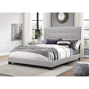 Twin Upholstered Bed with Button Tufting