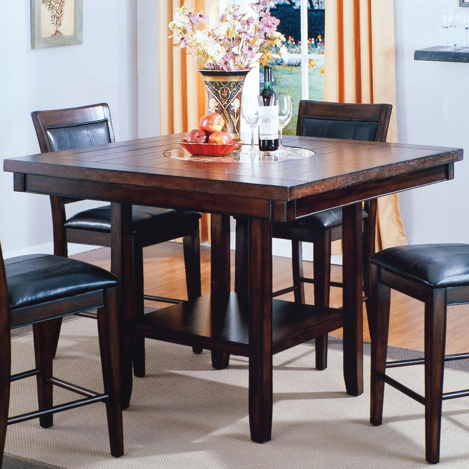 Fulton Counter Height Table with Lazy Susan by Crown Mark at Darvin Furniture
