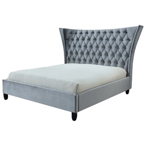 Contemporary King Upholstered Bed with Button Tufting