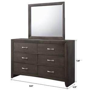 6 Drawer Dresser & Mirror Combo