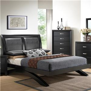 King Contemporary Upholstered Headboard Bed