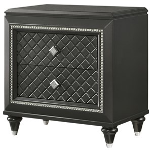 2 Drawer Night Stand with Silver Accents