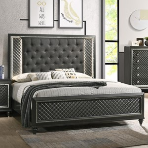 Queen Upholstered Bed with Button Tufting and LED Lighting