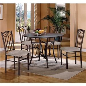 5 Piece Wood Top Dining Table and Upholstered Chairs Set
