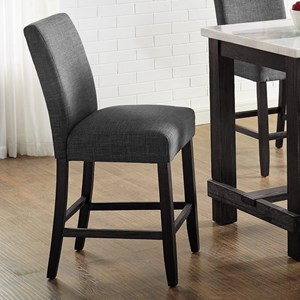 Transitional Counter Height Side Chair with Gray Upholstery