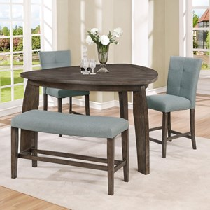 3 Piece Counter Height Dining Set with Triangle Table