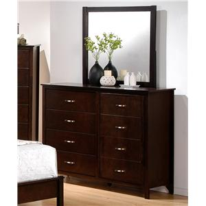8 Drawer Dresser and Mirror Combination