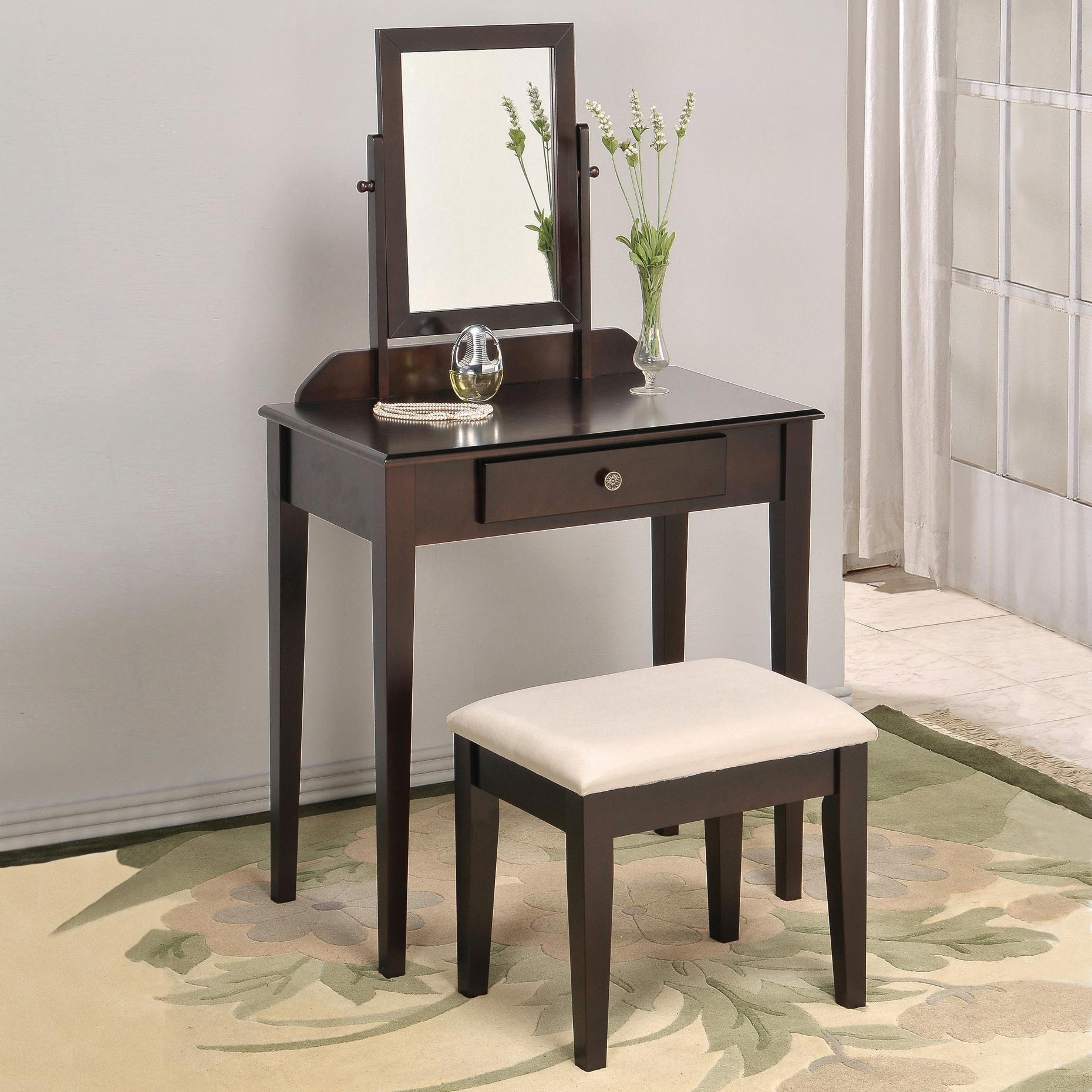 Iris Vanity Table & Stool by Crown Mark at Darvin Furniture