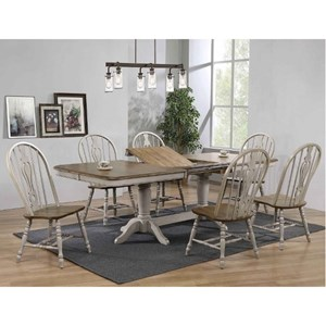 Relaxed Vintage 7-Piece Dining Set with Two Butterfly Leaves