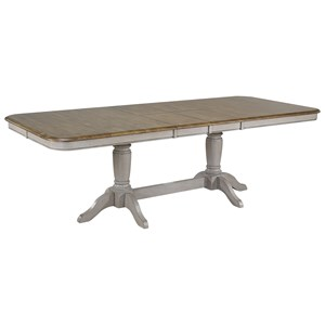 Relaxed Vintage Trestle Dining Table with Two Butterfly Leaves