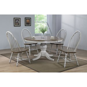 Relaxed Vintage 5-Piece Dining Set with Antique Finish