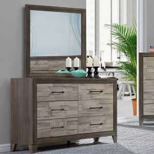 Contemporary Rustic Six Drawer Dresser and Mirror Set