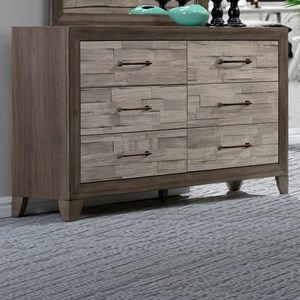 Contemporary Rustic Six Drawer Dresser