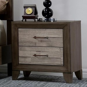 Contemporary Rustic Two Drawer Night Stand with Wire Management