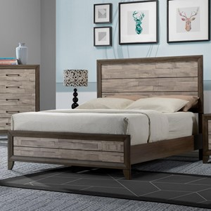 Contemporary Rustic Two Tone California King Bed