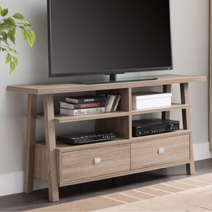 Transitional TV Stand with Metal Drawer Pulls