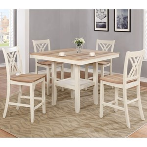 Two-Tone Counter Height Table and Chair Set with Storage Shelf