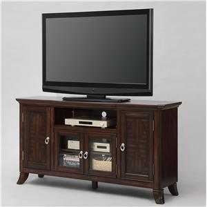 Entertainment Console with Doors and Open Compartment