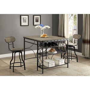3 Piece Craft Table and Counter Height Swivel Stool Set