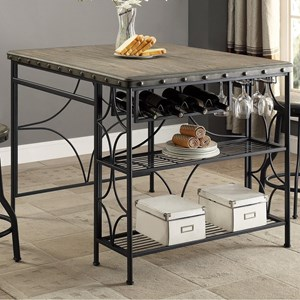 Craft Table with Built In Wine Bottle and Glass Storage