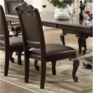 Traditional Dining Side Chair with Upholstered Seat and Back
