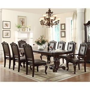 Traditonal Dining Table Set with 2 Arm Chairs and 6 Side Chairs