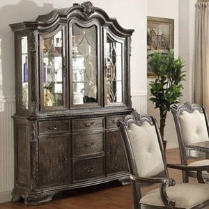 Traditional Buffet and Hutch with Glass Doors