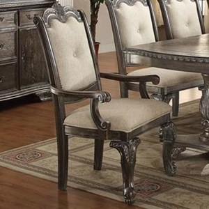 Traditional Dining Arm Chair with Upholstered Back and Seat