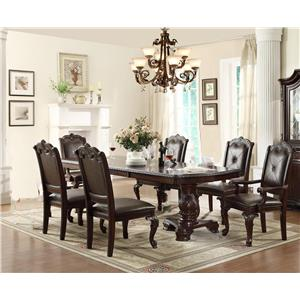 Dining Table with 4 Side Chairs and 2 Arm Chairs