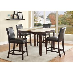 5 Piece Counter Height Table Set with Upholstered Side Chairs