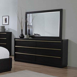 Contemporary 6-Drawer Dresser and Mirror Set