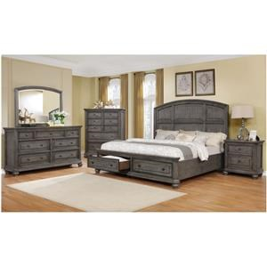 King Panel Bed with Storage, Dresser, Mirror and Nightstand Package