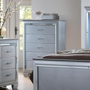 Glam Chest of Drawers with Beveled Mirror Accent