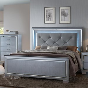 Queen Headboard and Footboard Bed with LED Backlighting