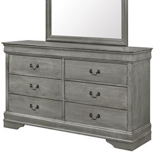 Transitional 6 Drawer Dresser