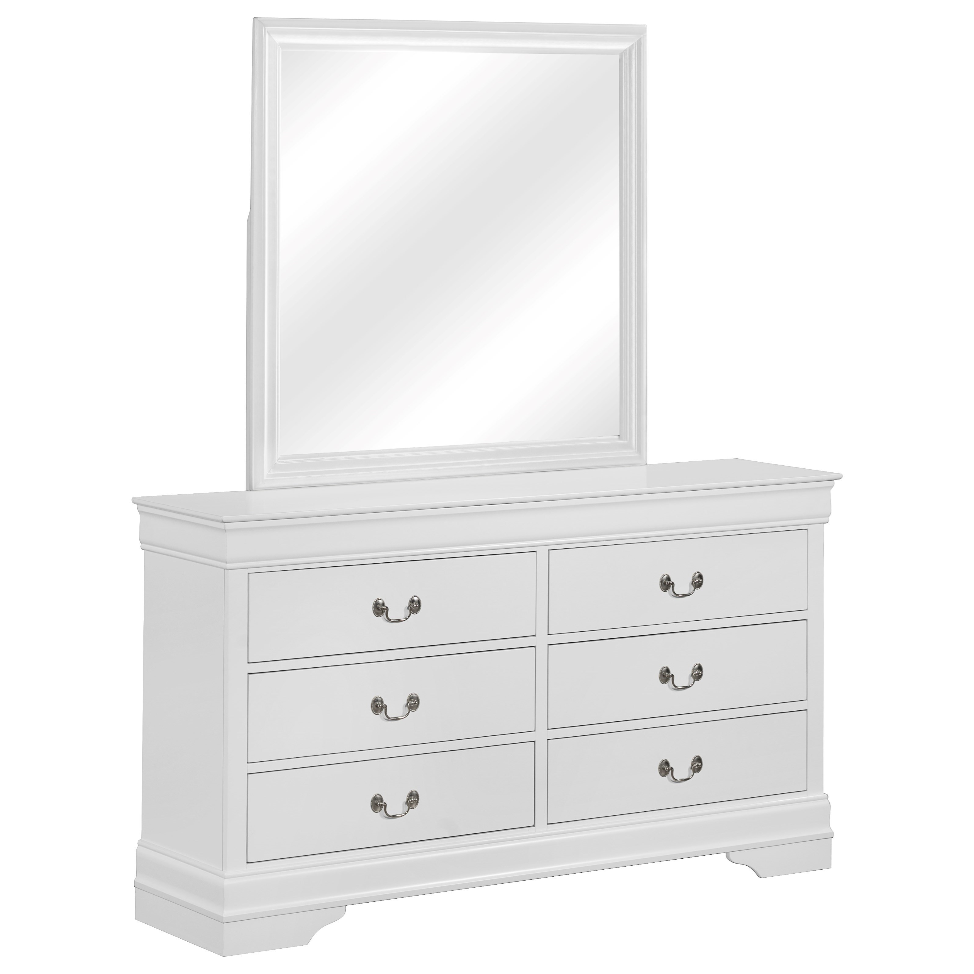 Louis Philip 6 Drawer Dresser with Mirror by Crown Mark at Northeast Factory Direct