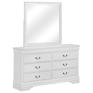 Transitional 6 Drawer Dresser with Mirror