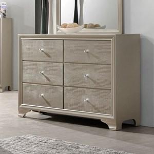 Glam Six Drawer Dresser