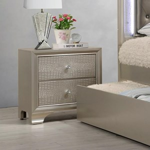 Glam Nightstand with Two Drawers