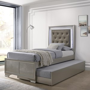 Glam Twin Bed with Upholstered LED Headboard and Trundle