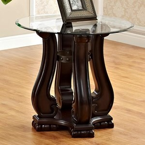 Traditional End Table with Glass Top