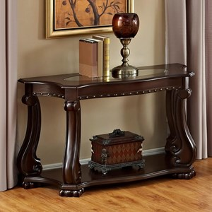 Traditional Sofa Table with Glass Top