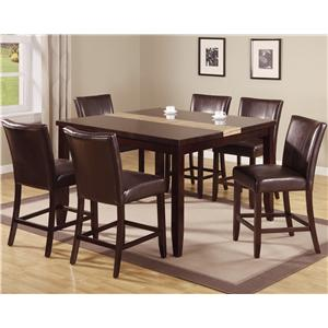 7 Piece Pub Table Set with Upholstered Counter Chairs