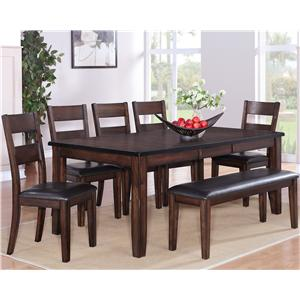7 Piece Table, Chair & Bench Dining Set