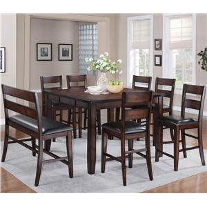 8 Piece Counter Height Dining Set with Bench