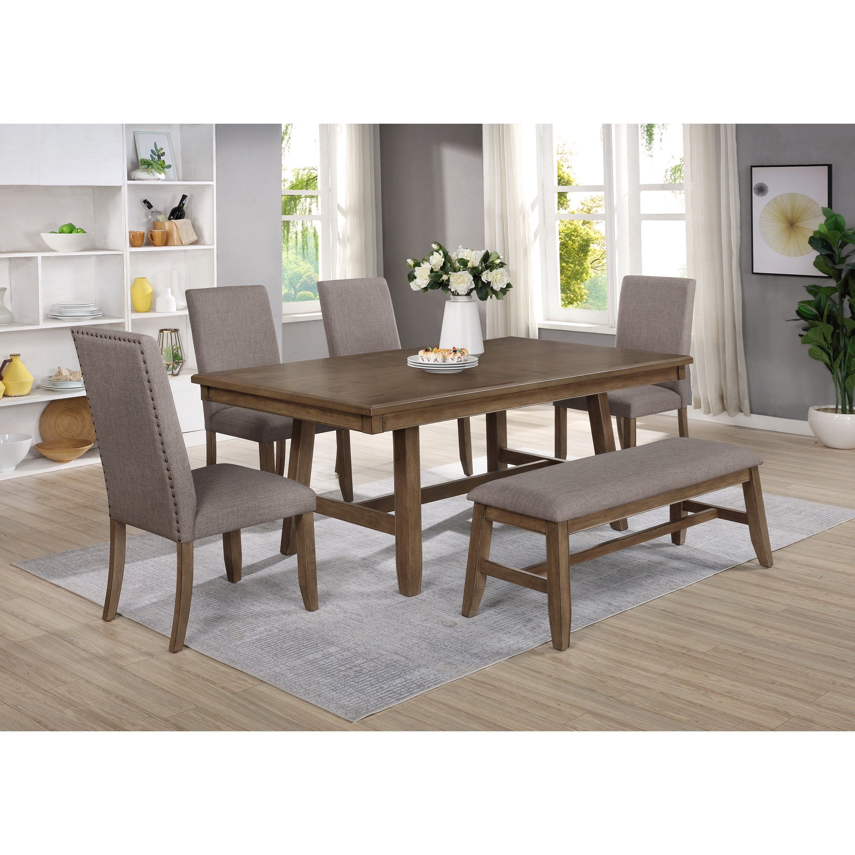 Manning 6-Piece Table and Chair Set with Bench by Crown Mark at Darvin Furniture