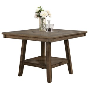 Casual Counter Height Table with Lazy Susan