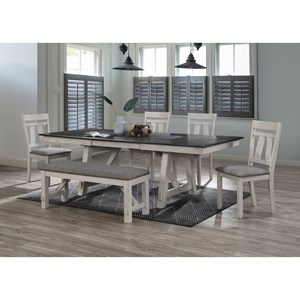 Cottage Style 6-Piece Table and Chair Set with Bench