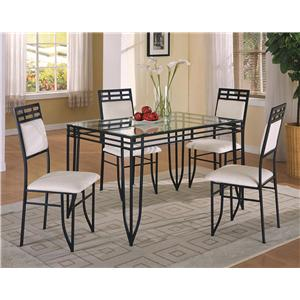 5 Piece Dinette Table and Side Chairs Set